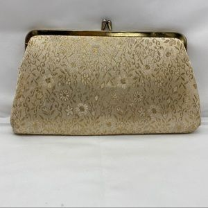 Vintage Floral Cream and Gold tapestry purse